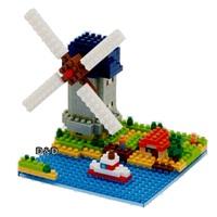 《Nano Block迷你積木》【 世界主題建築系列 】NBH - 043 金德代克-埃爾肖克的風車