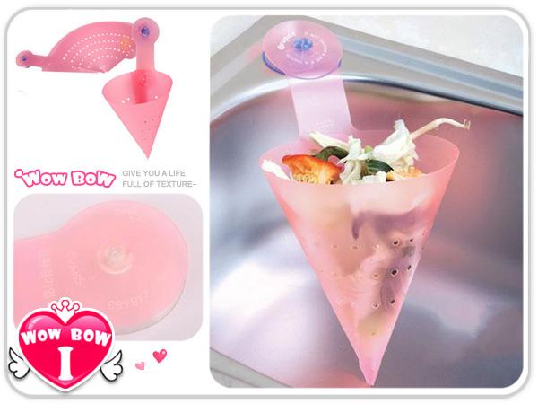 ♥愛挖寶♥【LZ-706】日式DIY吸盤式三角瀝水籃/水槽雜物漏斗/濾雜三角菜籃 不挑色