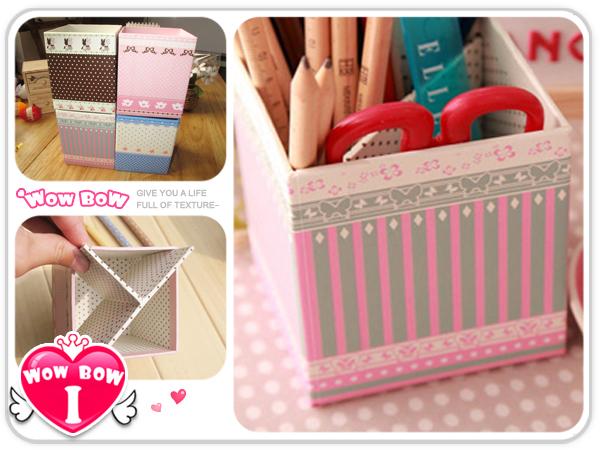 ♥愛挖寶♥【SB-05】4款清新小筆筒 紙質文具整理盒 多功能雜物收納盒