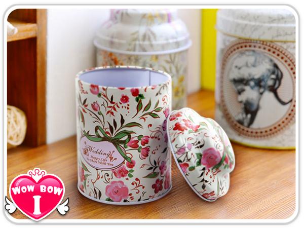 碎花蝴蝶結茶葉罐♥愛挖寶SB-26♥茶葉罐/零錢收納盒/喜糖盒/收納盒/婚禮小物