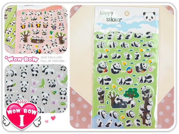 ♥愛挖寶♥【WT-B】超可愛熊貓圓仔 軟塑膠立體貼紙/日記/筆記本裝飾貼