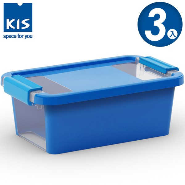 E&J【012011-06】義大利 KIS BI BOX 單開收納箱 XS 藍色 3入;收納盒/整理箱/收納櫃/玩具盒