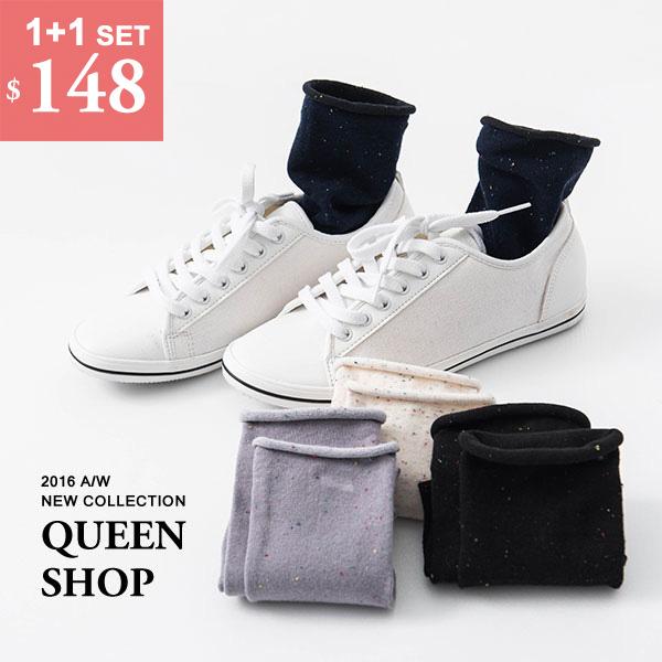 Queen Shop【07110300】小彩點捲邊襪 四色售 *現貨+預購*