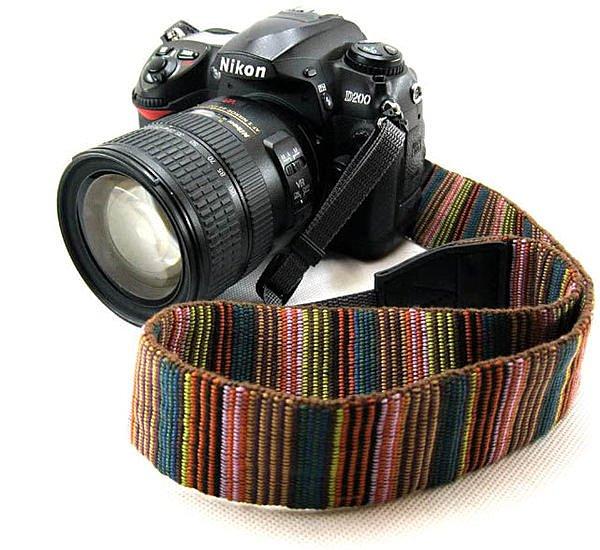 攝彩@Goto LC-005純彩色密織細條紋背帶 頸帶 相機帶 波西米亞風 潮 肩帶-20606