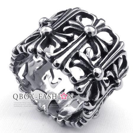 《 QBOX 》FASHION 飾品【W10022996】精緻個性圓形克羅心十字鏤空鑄造316L鈦鋼戒指/戒環