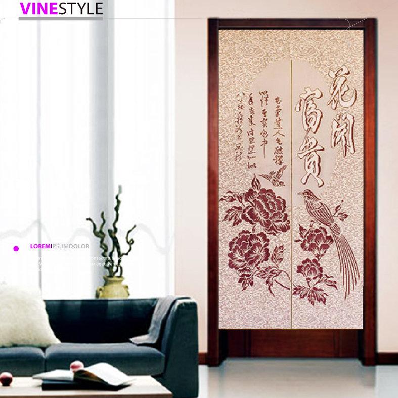 +台灣製造針織門簾【花開富貴】85 x175cm 加長款可當風水簾+