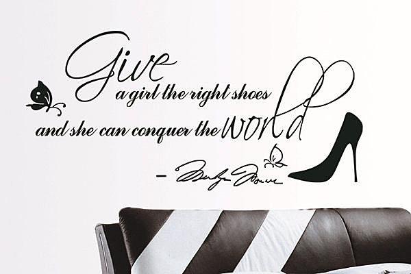 BO雜貨【YV2796】可移動 時尚組合壁貼 牆貼 壁貼紙 創意璧貼 蝴蝶 英文 黑色高跟鞋