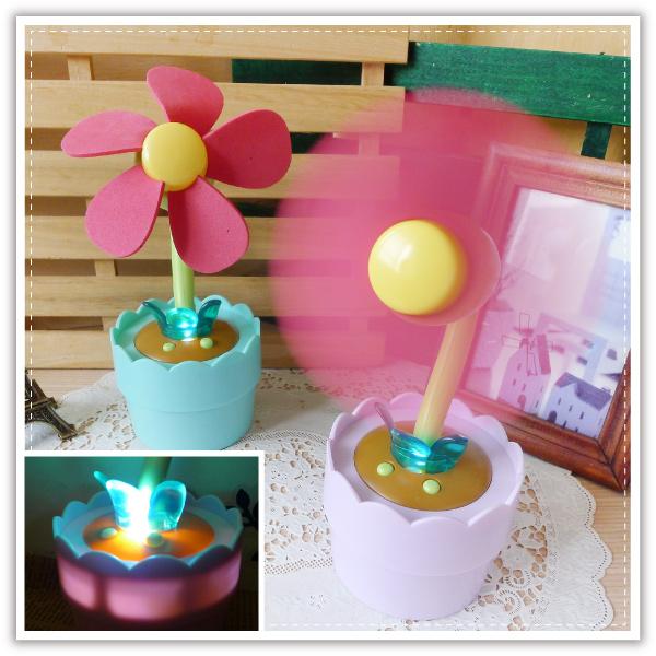 【aife life】小花盆栽LED風扇/可調角度/二用/USB盆栽風扇/花朵/花盆/安全風扇/小夜燈/置物盒