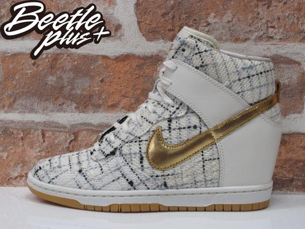 BEETLE PLUS NIKE WMNS DUNK SKY HI CITY FW QS PARIS 白金 麻布 條紋 楔形 內增高 女鞋 598216-100