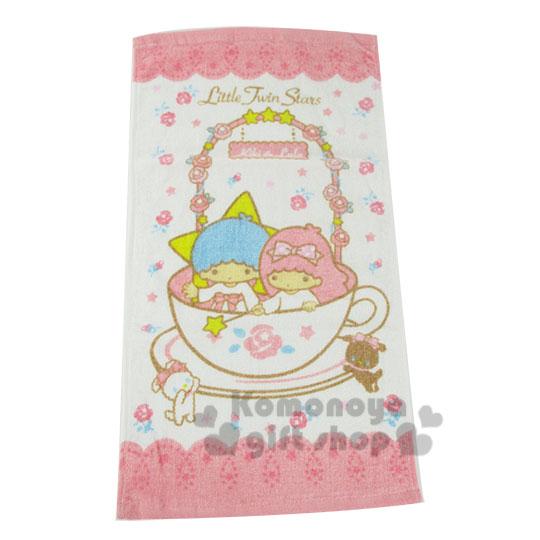 〔小禮堂〕雙子星 毛巾《白粉.玫瑰花圈.咖啡杯》100%棉.33*76(cm)