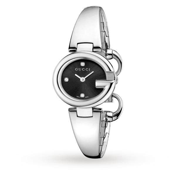 Gucci YA134505美鑽經典G型手環時尚腕錶/黑面27mm
