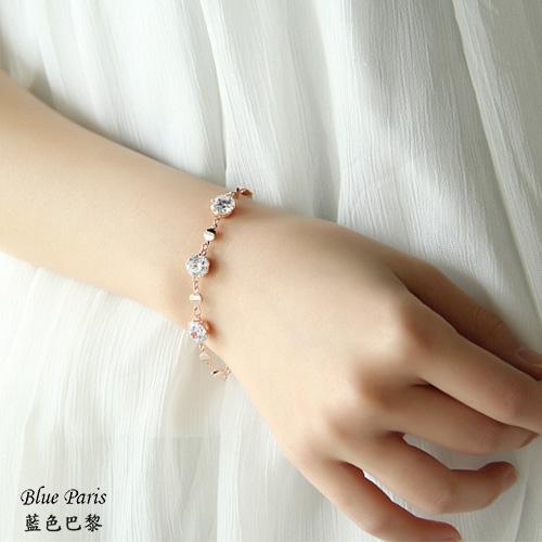 韓國時尚鑽石玫瑰金手鍊【21528】藍色巴黎-現貨商品【防過敏】