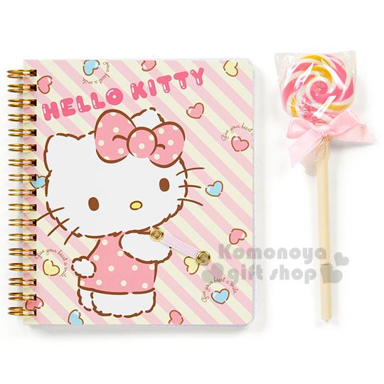 〔小禮堂〕Hello Kitty 筆記本附筆組《粉黃.斜紋.棒棒糖.透明盒裝》文具禮盒系列