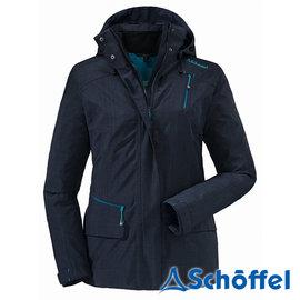 德國 SCHOFFEL 女 防水透氣 多功能附帽外套 深藍 2011152
