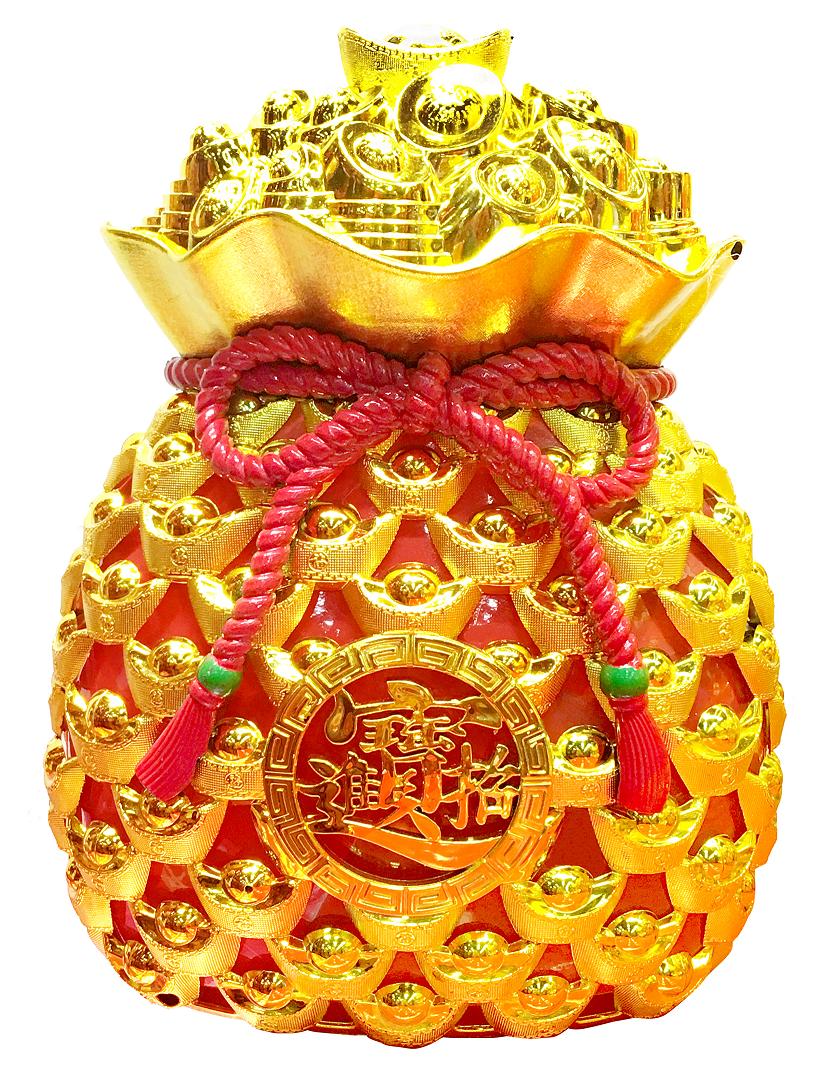 X射線【Z680410】招福錢袋糖果盒,雞年/春節/過年/果盆/糖果盒/佈置/招財進寶
