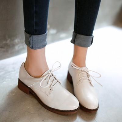 英倫綁帶圓頭粗跟中跟休閒小皮鞋小白鞋-黑/白/棕34-40【no-521165030736】