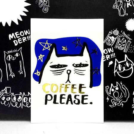 《ILLUK》- WYHsu插畫明信片-貓下去系列.Coffee Please