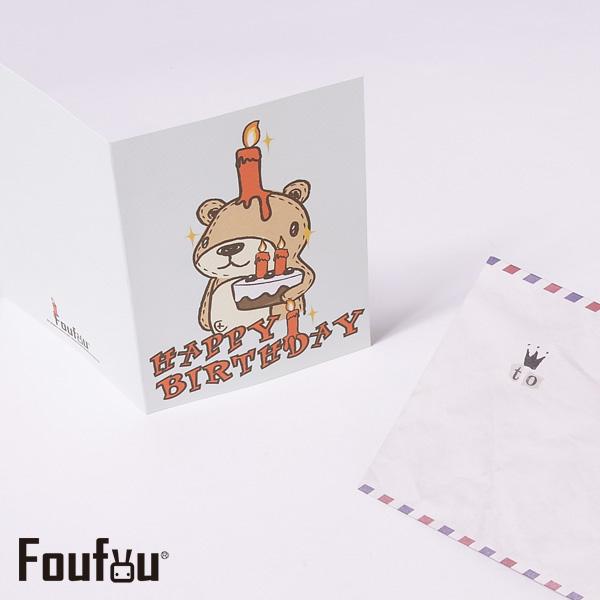 《Foufou》萬用卡片Card-蠟燭熊Happy Birthday