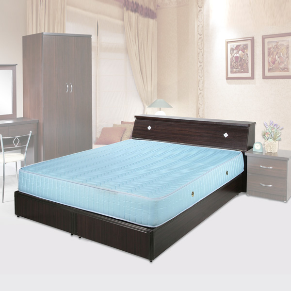 《YoStyle》艾莉6尺雙人加大床組(胡桃木紋)(床底+床頭箱)