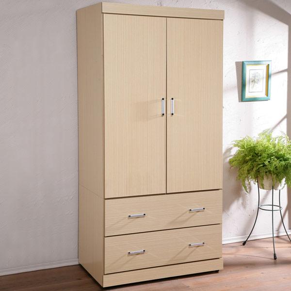 《Yostyle》 都會時尚3尺衣櫥 置物櫃 收納 衣櫃 (白橡木紋)