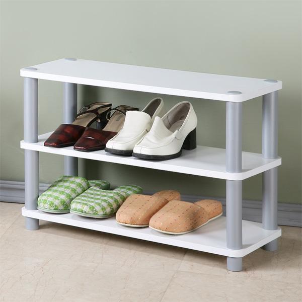 Yostyle 簡約三層開放式鞋架(純白色) 鞋櫃 收納櫃 展示架 系統架