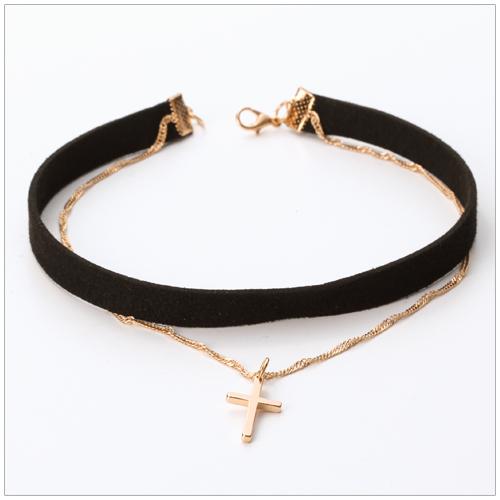 美麗新晴【SE5491】金色十字架寬版雙層頸鍊/項鍊 現+預
