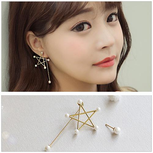 美麗新晴【SG0062】少女時代允兒同款五角星珍珠不對稱耳環 現+預