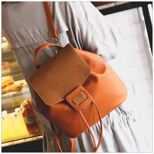 美麗新晴【SK3069】方形皮革釦設計質感後背包/側背包/斜背包 現+預