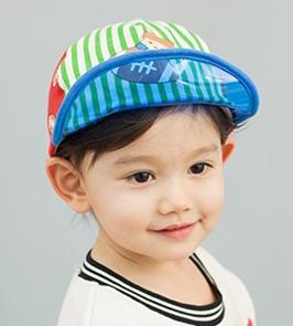 Lemonkid◆時尚運動風條紋印花防曬遮陽好視線透明帽檐兒童休閒棒球帽-藍色帽檐