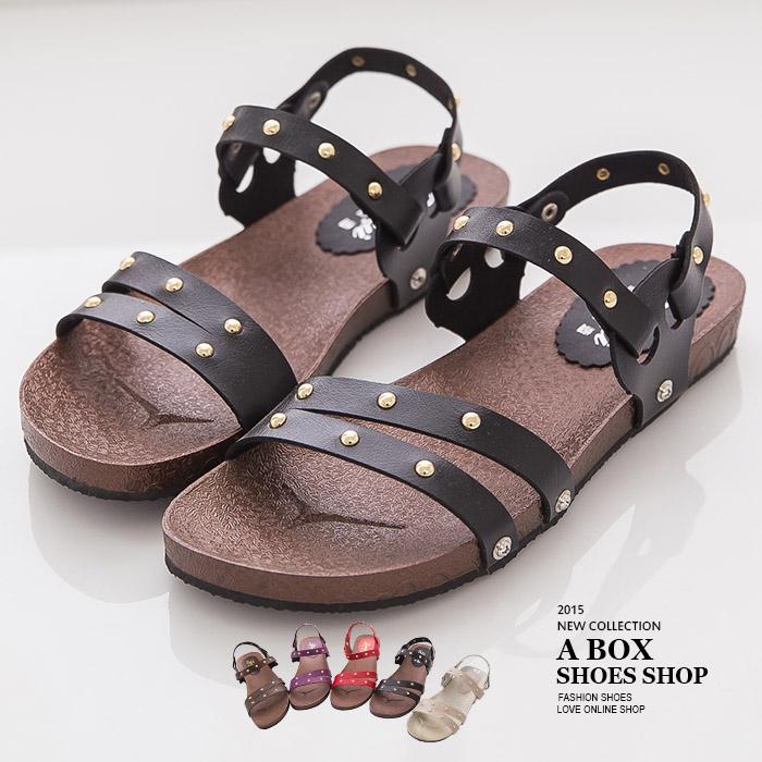 格子舖*【ADW885】MIT台灣製 率性休閒金屬鉚釘 兩穿式 羅馬風涼鞋平底拖鞋  5色