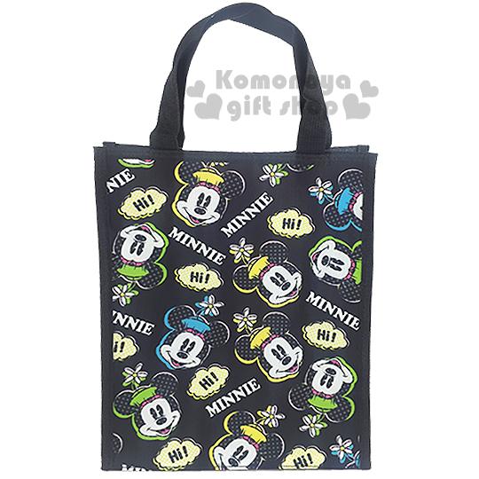 〔小禮堂〕迪士尼 米妮 直式手提便當袋《黑.大臉滿版》輕巧好攜帶