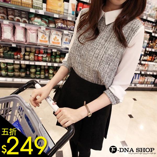 F-DNA★翻領亞麻拼接雪紡長袖襯衫(灰-S-XL)【ESD1203】
