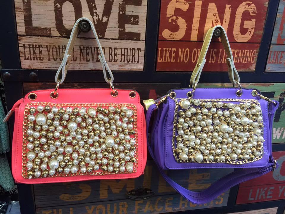 CHERRY@奢華時尚珍珠鑽手提/肩背兩用包