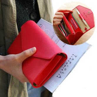 皮夾-現貨販售-質感大容量信封造型長夾 手機錢包-共7色-LX211-寶來小舖