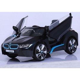 【淘氣寶寶】『CK27』原廠寶馬BMW I8 雙開門電動車(附遙控)(雙驅)W480QHG(緩起步) 黑色【贈 動物家族拉拉樂積木】