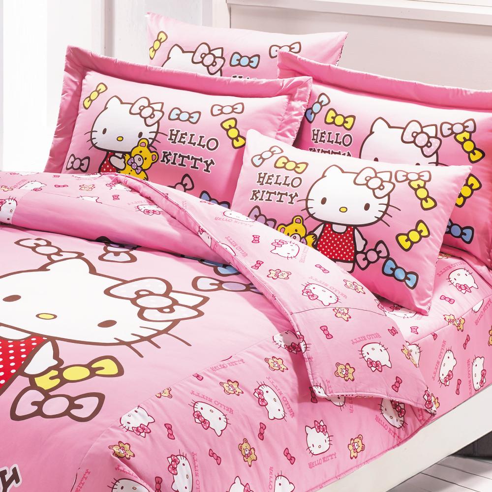 訂製床包枕套-美國棉/日本抗菌/雙人/鋪棉兩用被套+鋪棉床包+鋪棉枕套四件組-Hello Kitty 哈尼小熊系列HK2001粉[鴻宇]-台灣製