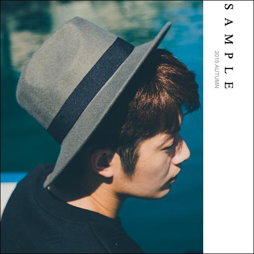 韓國製 禮帽【SA14327】挺版帽圓毛呢黑緞帶紳士帽【Sample】