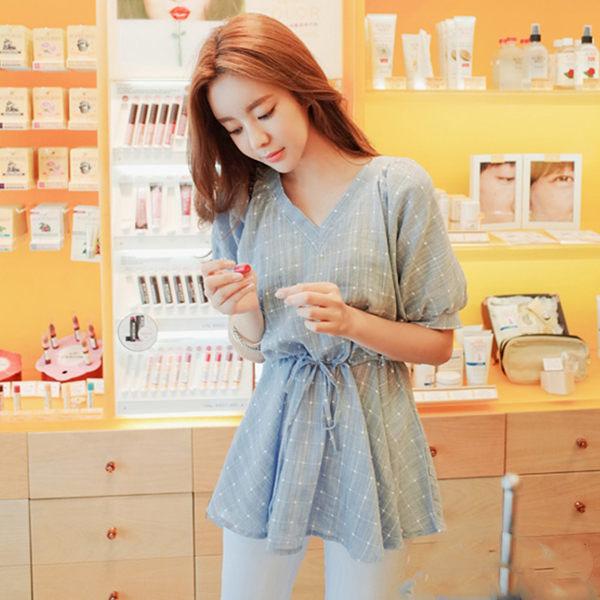 PS Mall 韓版收腰顯瘦V領格子短袖T恤連身裙 百搭上衣【T514】