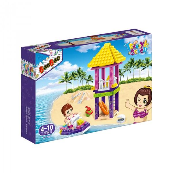 【BanBao 積木】沙灘女孩系列-救生看台 6130  (樂高通用) (單筆訂單購買再加送積木拆解器一個)
