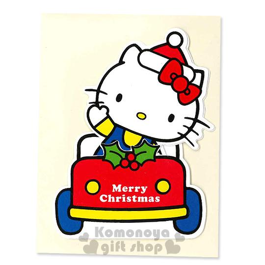〔小禮堂〕Hello Kitty 造型聖誕卡片《S.白.戴聖誕帽.開車》附信封