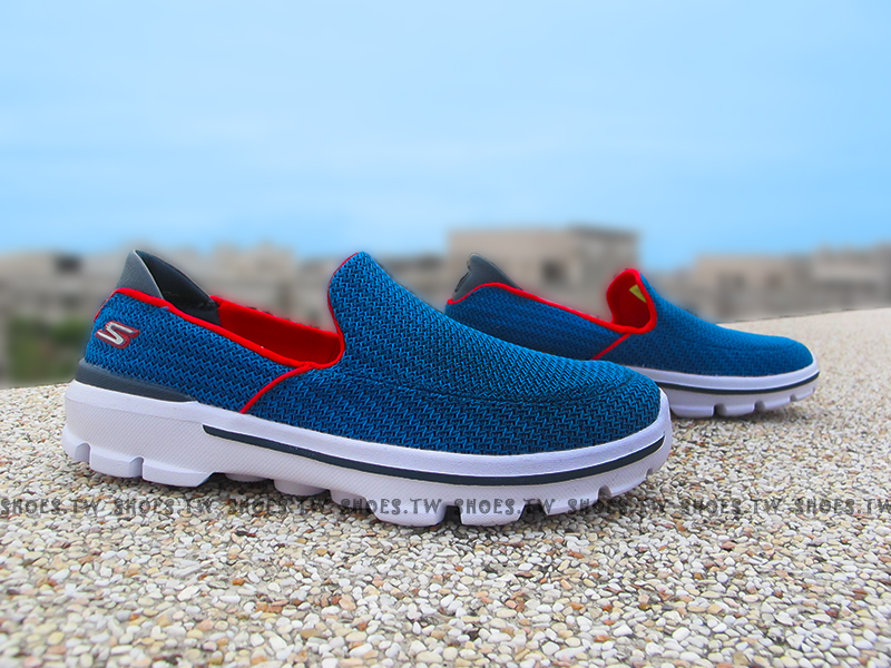 Shoestw【95692LRYRD】SKECHERS 中童鞋 GOWALK3 藍紅 小學生可穿