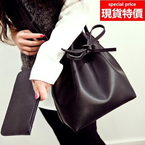 側背包 新款雙色荔枝紋子母包水桶包單肩斜背包包 3色 W82803-寶來小舖 Bolai shop-現貨販售