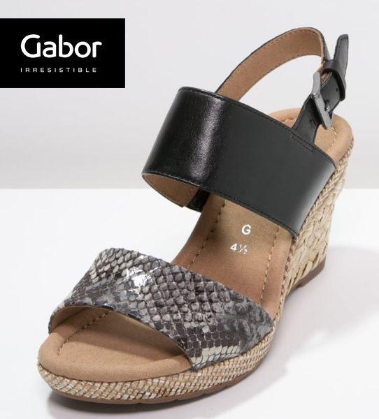 Gabor 蛇紋編織感楔型厚底涼鞋