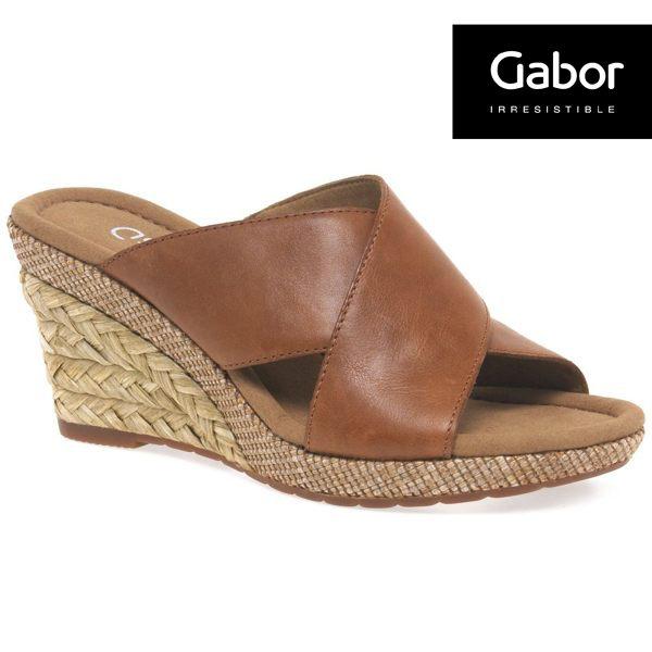 Gabor 皮革交叉帶楔型涼鞋