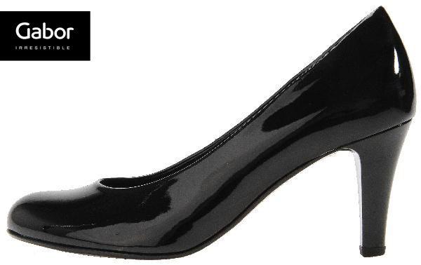 Gabor 俐落職場質感素面漆皮高跟鞋 誘惑黑