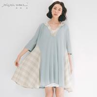 許許兒♪輕柔T麻拼接格紋洋裝-藍綠