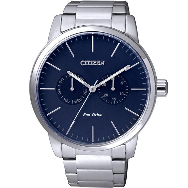 CITIZEN星辰AO9040-52L指針雙日曆光動能腕錶/藍面44mm