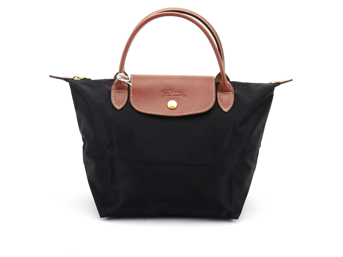 [1621-S號] 國外Outlet代購正品 法國巴黎 Longchamp 短柄 購物袋防水尼龍手提肩背水餃包黑色