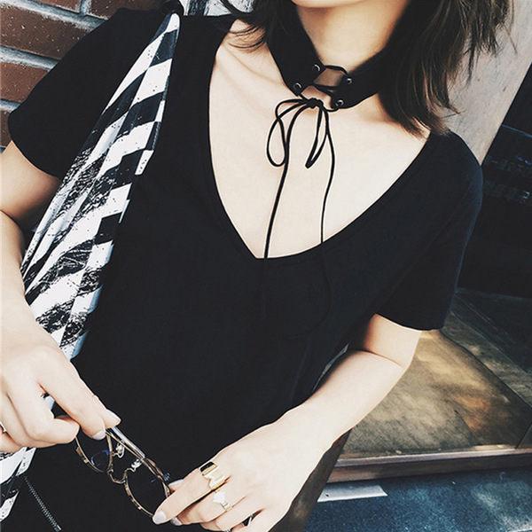 PS Mall 秋季上新 韓版時尚百搭獨特設計仿麂皮絨綁帶系頻寬版頸鏈 項鍊 【G2317】