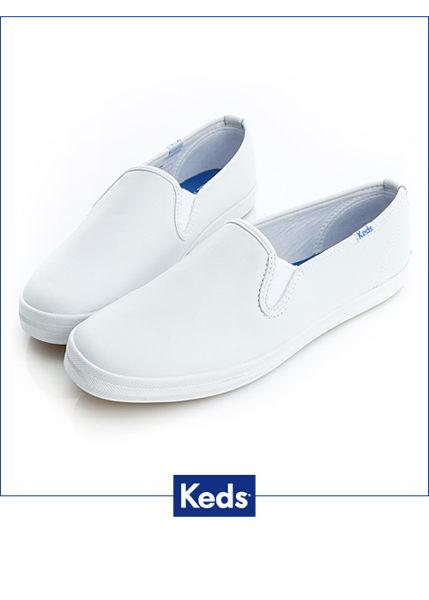 Keds 品牌經典厚底休閒便鞋(白) (限量) 套入式│懶人鞋│厚底鞋
